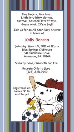 Baby Snoopy Sport Invitations by SuzansDesigns on Etsy, $0.50