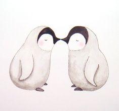 Kissing Penguins Illustration Print Home Wall Decor Cute Nursery Art 4x6. $7.99, via Etsy.