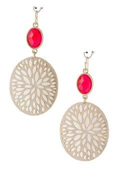 Filigree Medallion Earrings - Red