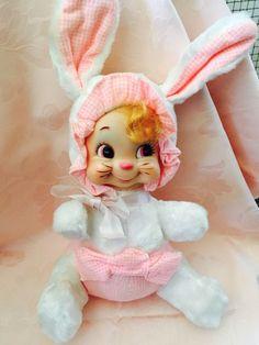 VINTAGE RUSHTON RUBBERFACE BUNNY BABY GIRL #Rushton