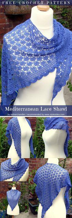 Mediterranean Lace Shawl Free Crochet pattern #crochetshawl