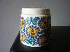 For Denise: Vintage Figgjo Flint Norway Bee Hive Wasp Floral Honey Pot Scandinavian Pottery | eBay