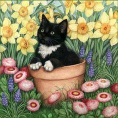 Art of Debbie Cook  (cute tuxedo kitten in a plant pot amidst flowers)  #cat #illustration