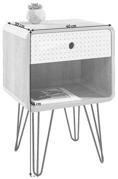 Noční stolek dekor dub koupit online Bassinet, Nightstand, New Homes, Retro Design, Table, Furniture, Home Decor, Grey And White, Set Of Drawers