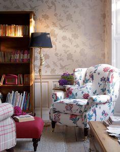 Elveden Floral Linen Cotton Fabric Cranberry | Laura Ashley USA
