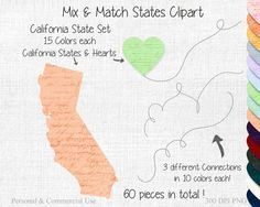 CALIFORNIA STATE to STATE Clipart Commercial Use by ClipArtBrat