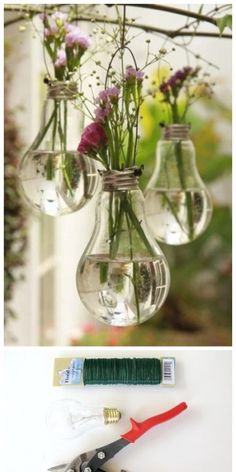 "- DIY-Deko: Zauberhafte Ideen zum Selbermachen Balcony Decoration: The bouquet of the last walk fits wonderfully in the old light bulbs. (Found in ""Simple decoration ideas with great effect"")"