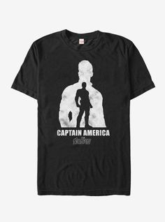 Captain America is back and he's all about his new bad boy look with the Marvel Avengers: Infinity War Captain America Silhouette Men's T-Shirt. A distressed white graphic shows a silhouette of Steve Rogers with his name below on this Infinity Wars tee. Captain America Quotes, Captain America Poster, Captain America Comic Books, Captain America And Bucky, Rock Style Clothing, Venom T Shirt, Marvel Shirt, Black Widow Marvel, Movie T Shirts