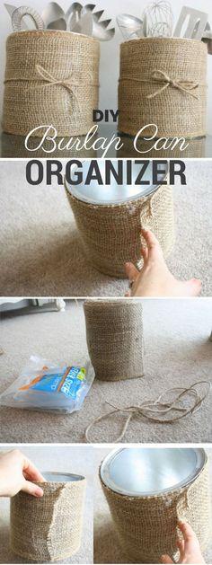 Check out the tutorial: #DIY Burlap Can Organizer @istandarddesign
