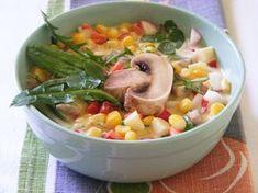 Makacska konyhája: Kukoricasaláta tavaszi zöldekkel Cheeseburger Chowder, Beans, Soup, Vegetables, Vegetable Recipes, Soups, Beans Recipes, Veggies