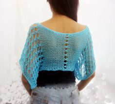 **************************************************************  Elegant hand knitted summer short lace pullover / sweater in aqua blue color . It is