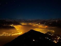 Serene view of  Lake Combo, Lombardy under the stars
