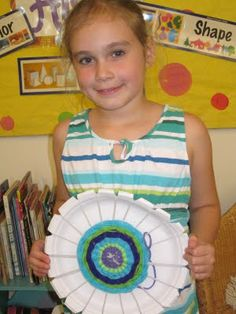 The Lake Forest Louvre 4th grade elementary art lesson project yarn weaving radial paper plate loom