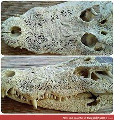 Beautiful crocodile skull carved in India