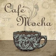 Cafe Mocha - petite by Todd Williams art print Retro Cafe, Café Retro, Coffee Cup Art, Coffee Poster, Coffee Cafe, Collages D'images, Coffee Theme Kitchen, Tea Art, I Love Coffee