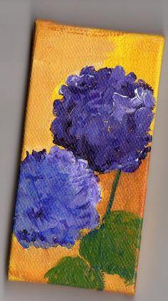 Purple Hydrangeas on gold mini original canvas by SharonFosterArt, $20.00