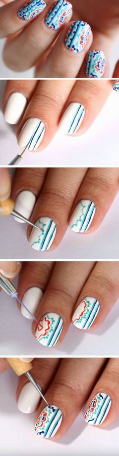 Moroccan Pottery | 18 Easy Summer Nail Art for Short Nails that scream summer!