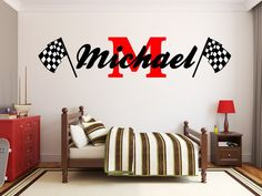 Checkered flag monogram wall decal will add a sporty touch to any room in your home
