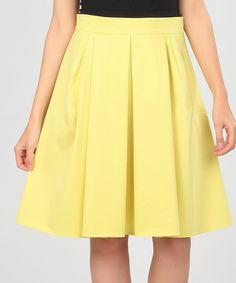 Yellow Pleated Skirt by Poesse #zulily #zulilyfinds