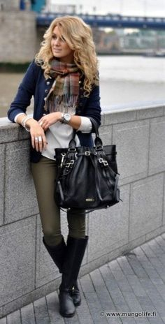 Military style sweater with army green pants, plaid scarf, simple tee, and black boots