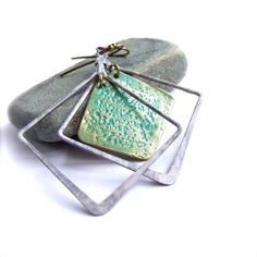 White Wash Verdigris Patinaed Square - Patina Earrings by balanced
