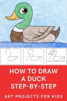 Learn how to draw a duck with this fun and easy art project for kids. Simple step by step tutorial available. easy art How to Draw a Duck · Art Projects for Kids Drawing Lessons For Kids, Drawing Tutorials For Kids, Easy Drawings For Kids, Drawing For Beginners, Painting Tutorials, Easy Art Projects, Projects For Kids, You Draw, Learn To Draw