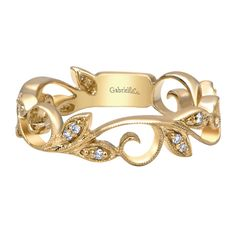 Show off the Gorgeous and Whimsical Design of this Gabriel Diamond Leaf Ring in 14k Yellow Gold!