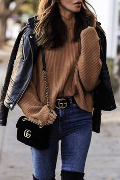 stylish look | leather jacket + brown sweater + bag + skinnies + over knee boots