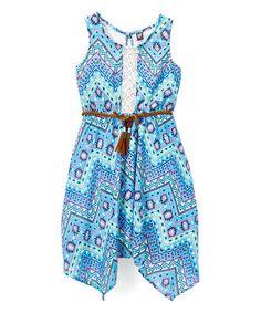 Scuba Blue Geometric Sidetail Dress & Braided Belt - Toddler & Girls #zulily #zulilyfinds