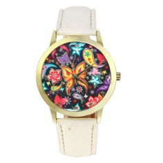 New Fish and Butterfly Patterns Ladies Watches PU Leather Band Analog Quartz Montre Femme Vogue Wrist Women Watches