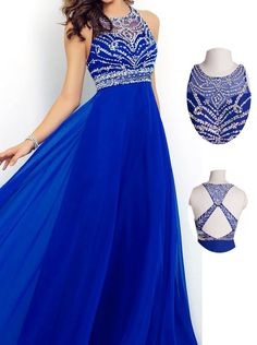 Crew Neck Sleeveless Beading Criss-cross Back Prom Dress-Floor-length Chiffon Royal Blue Evening Dress
