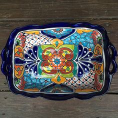 Talavera Serving Tray Grande Types Of Food, Serving Dishes, Thoughtful Gifts, Lead Free, House Warming, Tray, Hand Painted, Engagement, Artwork