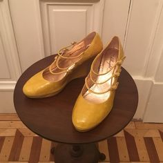 Anthropologie Patent Leather Wedges Miss Albright brand. Yellow patent leather. 3 straps across the front. Super cute- wish I could keep but they are just a bit too small for me and have been in my closet for years. Anthropologie Shoes Wedges