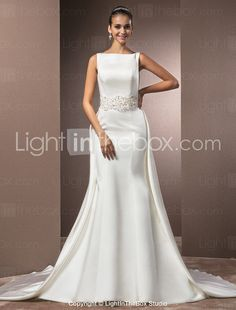 Trumpet/Mermaid Bateau Chapel Train Satin Wedding Dress