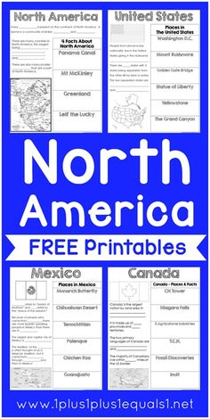 North America Printables {free} ~ Mexico, Canada, U.S.A. ~ goes along with the…