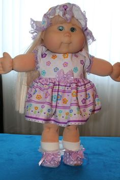 "Cabbage Patch Doll Cloths - Purple/white dress, pantie, hat, shoes -  20"" doll…"