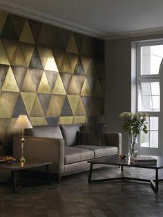 papier peint géométrique pour le salon moderne