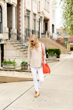 Timberland Loafers / Vineyard Vines Cashmere Sweater / J.Crew Jeans / Henri Bendel Drawstring Bag