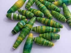 Set of 20 Green and Yellow Handmade Paper Beads- Individual, Jewellery, Create, Design, Make, Eco Friendly. PurpleSmoothie via Etsy.