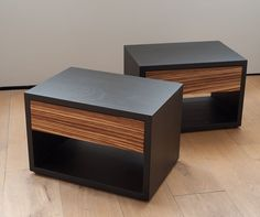New! Black oak and zebrano bedside tables from Natural Bed Company - http://www.naturalbedcompany.co.uk/shop/bedroom-furniture/zebrano-cube-bedside-table/