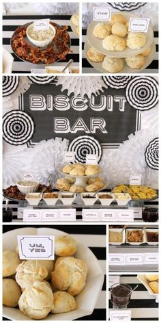 A biscuit bar is perfect for a farewell brunch. Guests can come and go as they p… A biscuit bar is perfect for a farewell brunch. Guests can come and go as they please and it is a quick and fun idea that will be a great way to end your wedding weekend. Breakfast Buffet, Breakfast Bars, Office Breakfast Ideas, Brunch Buffet, Bar A Burger, Brunch Recipes, Breakfast Recipes, Brunch Food, Brunch Bar Ideas
