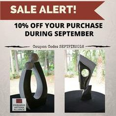 Sale Alert! Special Discount just for you! See image for coupon code. Pinterest Appreciation Month! – Zimbabwe Artisan Alliance - Handmade - Sculptures - Stone Sculptures - Recycled Metals - Garden Art - Don't forget that with each purchase 30% of the net profits go back to three different charities in Zimbabwe, along with another portion of the proceeds going to more artists to purchase their work and keep them doing what they love.