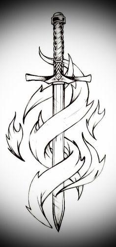 Sword and flames – Schwert und Flammen # 1 – Cool Art Drawings, Pencil Art Drawings, Art Drawings Sketches, Easy Drawings, Tattoo Drawings, Drawing Ideas, Sword Drawings, Sword Tattoo, Sword Logo