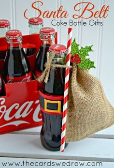 Get Inspired with Gift Giving: Santa Belt Coke Bottle Gifts Christmas Decorations, Christmas Gifts, Christmas iDeas Homemade Christmas Gifts, Xmas Gifts, Homemade Gifts, Holiday Fun, Diy Gifts, Christmas Holidays, Christmas Crafts, Christmas Decorations, Christmas Jokes