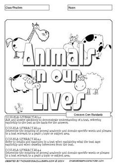 Animals in Our Lives is a science themed reading activity focused on the topics;  Domestic Vs. Wild Animals Domesticating Animals and Plants Animals Helping Us (Service Animals)  There are six pages of reading activities.  The preview provides a complete overview of the activity pack.