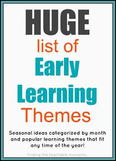 """Seasonal themes listed by month, list of """"anytime"""" themes, and children's literature based themes (including seasonal selections from Five in a Row). Possible music therapy themes! Preschool Lesson Plans, Preschool Curriculum, Preschool Classroom, Preschool Learning, Early Learning, Preschool Activities, Kids Learning, Preschool Themes By Month, Homeschooling"""