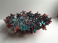 Teal Copper Gold-Painted Metallic Jigsaw Puzzle Bowl by SJPuzzles