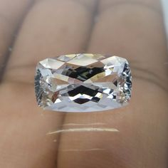 3.6 Ct 13x7.7x5.8 mm Cushion Shape Excellent Cut Goshenite Aquamarine Cut Stone  #Unbranded