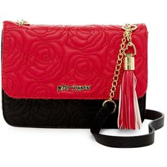 Betsey Johnson Faux Leather Crossbody ($30) ❤ liked on Polyvore featuring bags, handbags, shoulder bags, red, betsey johnson purse, betsey johnson crossbody, quilted faux leather crossbody, red shoulder bag and chain strap purse