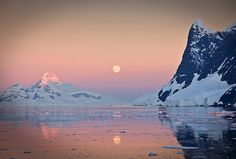 Moon rise over the Lemaire Channel, Antarctica.  http://www.adventurecenter.com/details?TripID=12781